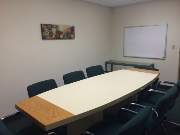 Conference room available 8:00 to 5:00 free of charge